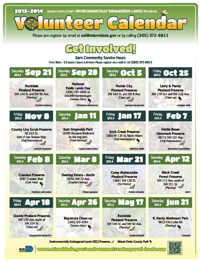 2013-2014 Park Volunteer Calendar