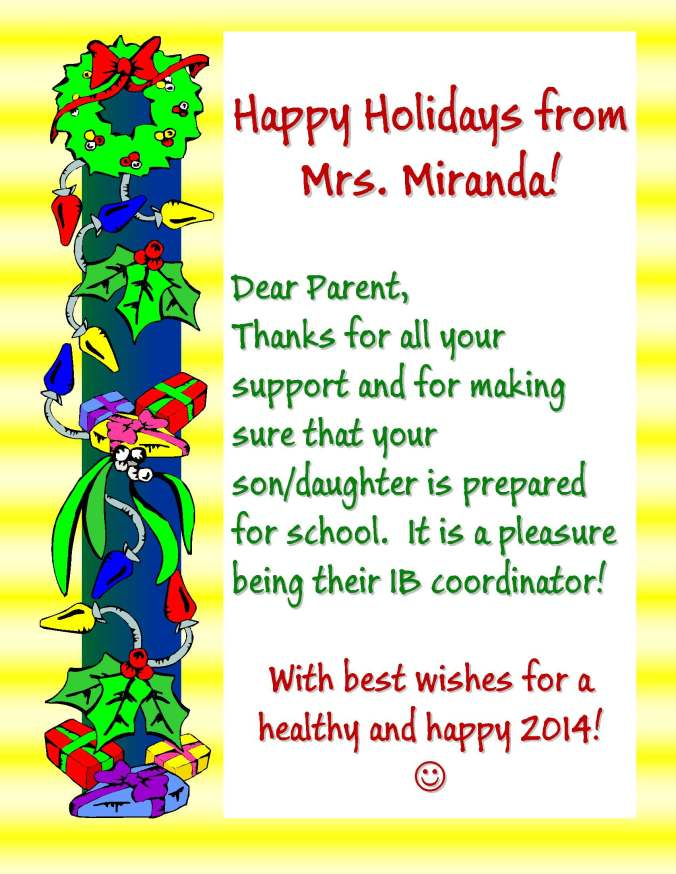 Happy Holidays from Mrs. Miranda