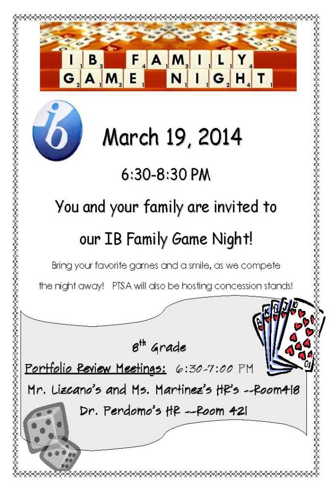 Family Game Night March 19th!!!